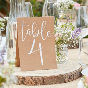 Rustic Country Tent Card Table Numbers 1 -12